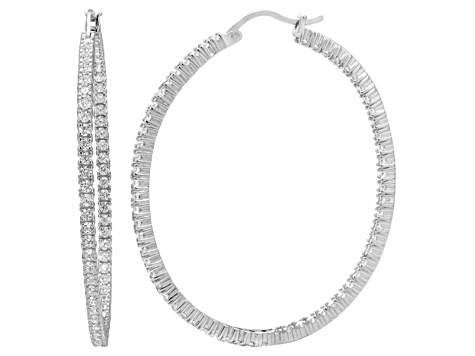 Bella Luce® 7.44ctw Diamond Simulant Rhodium Over Silver Oval Hoop Earrings