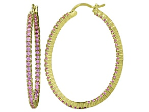 Bella Luce® 4.92ctw Pink Diamond Simulant 18k Over Silver Oval Hoop Earrings