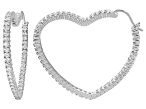 Bella Luce® 5.88ctw Diamond Simulant Rhodium Over Silver Heart Hoop Earrings