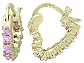Bella Luce® 1.20ctw Pink Diamond Simulant 18k Over Silver Heart Hoop Earrings