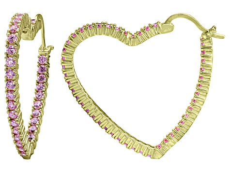 Bella Luce® 5.40ctw Pink Diamond Simulant 18k Over Silver Heart Hoop Earrings