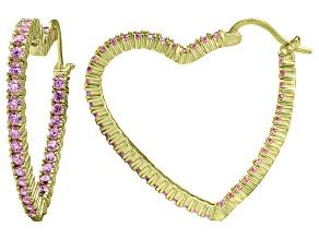 Bella Luce® 5.40ctw Pink Diamond Simulant 18k Over Silver Heart Hoop Earrings