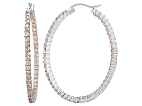Bella Luce® 6.00ctw Champagne Diamond Simulant Silver Hoop Earrings