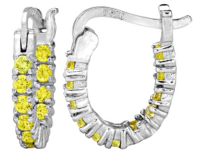 Bella Luce® 1.32ctw Yellow Diamond Simulant Rhodium Over Silver Hoop Earrings
