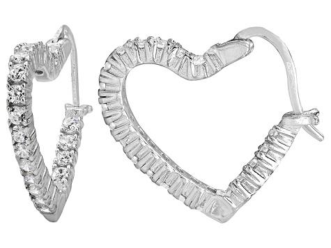 1a189b67e Bella Luce® 2.88ctw Diamond Simulant Rhodium Over Silver Heart Hoop Earrings  - BVL351 | JTV.com