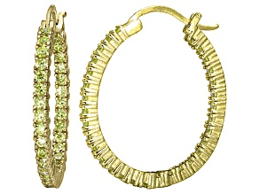 Bella Luce® 3.72ctw Yellow Diamond Simulant 18k Over Silver Oval Hoop Earrings