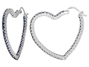 Bella Luce® 5.40ctw Tanzanite Simulant Rhodium Over Silver Heart Hoop Earrings