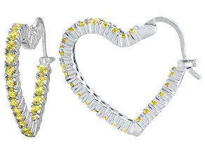 Bella Luce® 2.88ctw Yellow Diamond Simulant Rhodium Over Silver Hoop Earrings