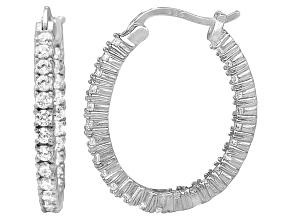 Bella Luce® 3.00ctw Diamond Simulant Rhodium Over Silver Oval Hoop Earrings