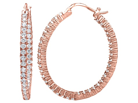 Bella Luce® 4.56ctw Diamond Simulant 18k Rose Gold Over Silver Hoop Earrings