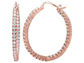 Bella Luce® 4.56ctw Diamond Simulant 18k Rose Gold Over Silver Hoop Earrings