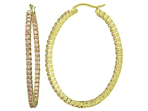 Bella Luce® 6.00ctw Champagne Diamond Simulant 18k Over Silver Hoop Earrings