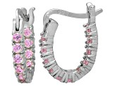 Bella Luce® 1.32ctw Pink Diamond Simulant Silver Oval Hoop Earrings