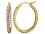 Bella Luce® 3.72ctw Pink Diamond Simulant 18k Over Silver Oval Hoop Earrings