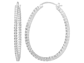 Bella Luce® 6.48ctw Diamond Simulant Rhodium Over Silver Oval Hoop Earrings