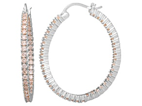 Bella Luce® 4.92ctw Champagne Diamond Simulant Silver Hoop Earrings