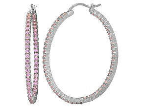 Bella Luce® 4.92ctw Pink Diamond Simulant Silver Oval Hoop Earrings