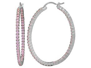 Bella Luce® 4.92ctw Pink Diamond Simulant Silver Oval Hoop Earrings