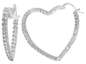 Bella Luce® 4.80ctw Diamond Simulant Rhodium Over Silver Heart Hoop Earrings