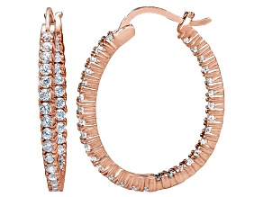 Bella Luce® 3.72ctw Diamond Simulant 18k Rose Gold Over Silver Hoop Earrings