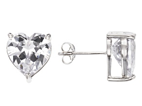 Bella Luce® 10.70ctw Heart Shape Diamond Simulant Rhodium Over Silver Earrings