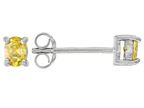 Bella Luce® .51ctw Oval Yellow Diamond Simulant Rhodium Over Silver Earrings