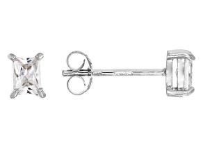 Bella Luce® .57ctw Emerald Cut Diamond Simulant Rhodium Over Silver Earrings