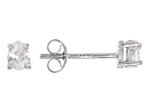 Bella Luce® .48ctw Oval Diamond Simulant Rhodium Over Silver Solitaire Earrings
