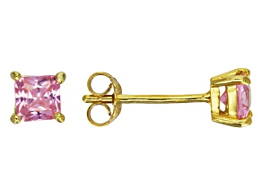 Bella Luce® 1.04ctw Square Pink Diamond Simulant 18k Over Silver Earrings