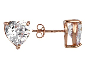 Bella Luce® 9.12ctw Heart Shape Diamond Simulant Rose Gold Over Silver Earrings
