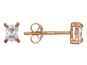 Bella Luce® .57ctw Emerald Cut Diamond Simulant Rose Gold Over Silver Earrings