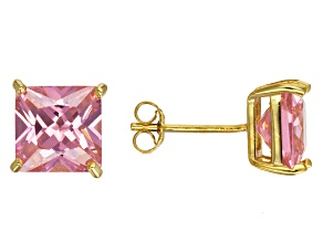 Bella Luce® 8.29ctw Square Pink Diamond Simulant 18k Over Silver Earrings