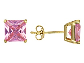 Bella Luce® 5.62ctw Pink Diamond Simulant 18k Over Silver Solitaire Earrings