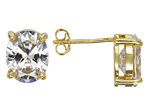 0a8873dcb Bella Luce® 8.36ctw Oval Diamond Simulant 18k Over Silver Solitaire Earrings  - BVL465 | JTV.com