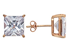 Bella Luce® 11.40ctw Square Diamond Simulant Rose Gold Over Silver Earrings