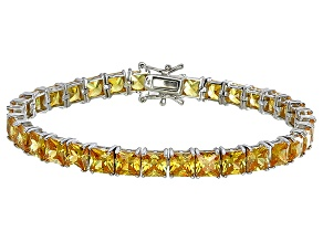 Bella Luce® 35.53ctw Yellow Diamond Simulant Rhodium Over Silver Bracelet