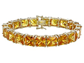 Bella Luce® 104.50ctw Yellow Diamond Simulant 18k Gold Over Silver Bracelet