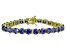 Bella Luce® 35.82ctw Tanzanite Simulant 18k Yellow Gold Over Silver Bracelet