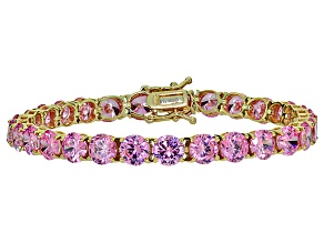 Bella Luce® 35.82ctw Pink Diamond Simulant 18k Yellow Gold Over Silver Bracelet