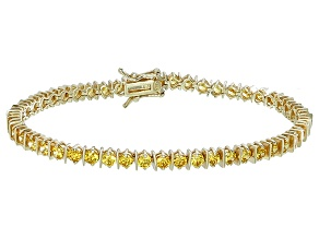 Bella Luce® 9.31ctw Yellow Diamond Simulant 18k Yellow Gold Over Silver Bracelet
