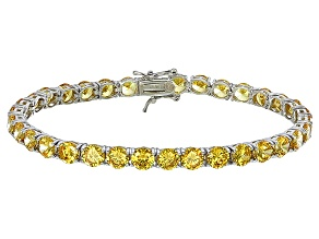 Bella Luce® 25.84ctw Round Yellow Diamond Simulant Rhodium Over Silver Bracelet