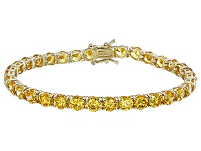 Bella Luce® 25.84ctw Round Yellow Diamond Simulant 18k Gold Over Silver Bracelet