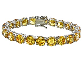 Bella Luce® 72.11ctw Round Yellow Diamond Simulant Rhodium Over Silver Bracelet