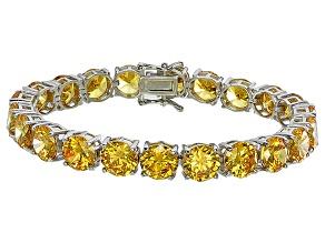 Bella Luce® 72.11ctw Round Yellow Diamond Simulant Rhodium Over Silver Bracelet