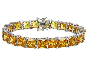 Bella Luce® 80.47ctw Yellow Diamond Simulant Rhodium Over Silver Bracelet