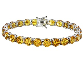 Bella Luce® 53.44ctw Round Yellow Diamond Simulant Rhodium Over Silver Bracelet