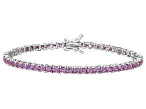 Bella Luce® 12.28ctw Princess Pink Diamond Simulant Rhodium Over Silver Bracelet