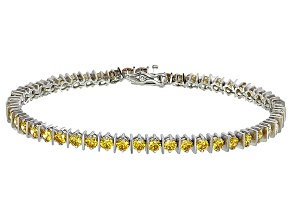 Bella Luce® 9.31ctw Round Yellow Diamond Simulant Rhodium Over Silver Bracelet