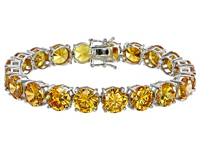 Bella Luce® 90.25ctw Round Yellow Diamond Simulant Rhodium Over Silver Bracelet