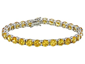 Bella Luce® 35.82ctw Round Yellow Diamond Simulant Rhodium Over Silver Bracelet